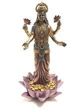 "Lakshmi Hindu Goddess on Lotus Statue Sculpture 9.5"" height by Summit Figurine"