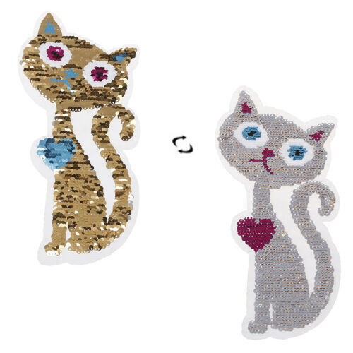 Color Changing Sequins Reversible Sew on Embroidered Cat Patches Sticker9U