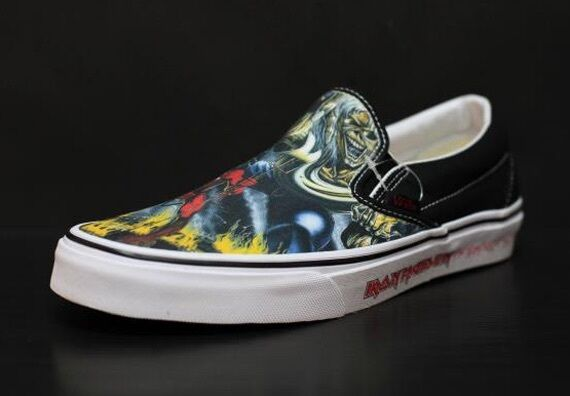 Vans classic iron maiden number of the the the beast slip on limited edition c005c3