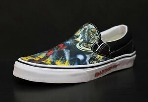 51727ee3ab52f9 Vans classic iron maiden number of the beast slip on limited edition ...
