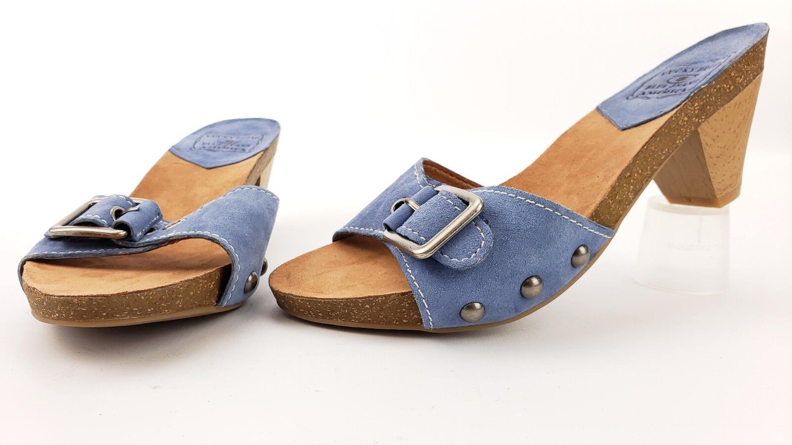 Lucky Brand New Gildan Blue Suede Leather Wood Heel Cork Sandal Mule Clog Shoe