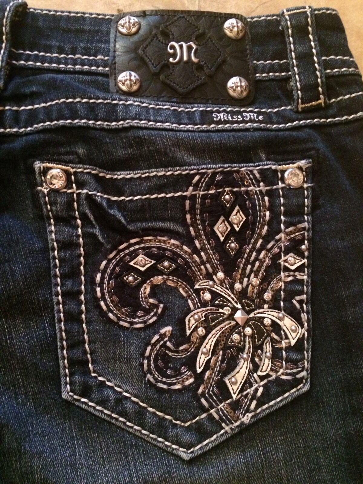 MISS ME Jeans 30 Dark bluee Boot Cut Sz 30 x 34 Ins Studded Fleur de Lis Applique