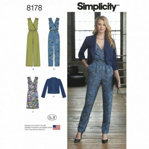 Simplicity Misses/' Jumpsuit Dress and Jacket Sewing Pattern 8178