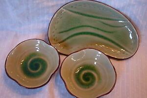 So-Pretty-Pottery-Art-Snack-Set-w-Tray-and-Sauce-Cups-in-Greens