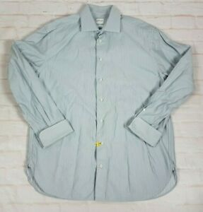 Armani-Collezioni-Luxury-Men-039-s-Dress-Shirt-French-Cuffs-Striped-Size-39-15-5