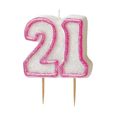 "3.5"" Pink Sparkle 21st Birthday Glitter Cake Decoration Molded Candle"