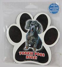 """Yorkie Poos Rule! 5"""" Waterproof Dog Paw Print Pawprint Magnet"""