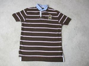 a72166b16 VINTAGE Ralph Lauren Polo Shirt Adult Large Brown Pink Striped Crest ...