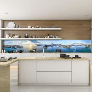 Kuchenruckwand Spritzschutz Kuche Gehartetes Glas Stadt Blau Sydney