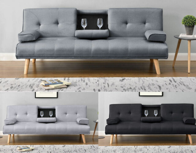Cool Modern Stylish 2 3 Seater Small Single Sofa Bed Grey Black Charcoal Fabric Ocoug Best Dining Table And Chair Ideas Images Ocougorg
