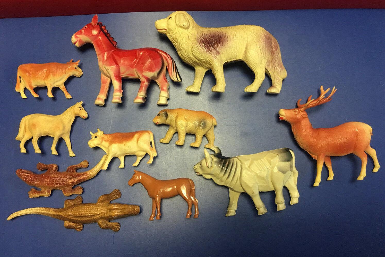 1940s Juguete Antiguo Celuloide Animales Pintado a Mano Lote De 11