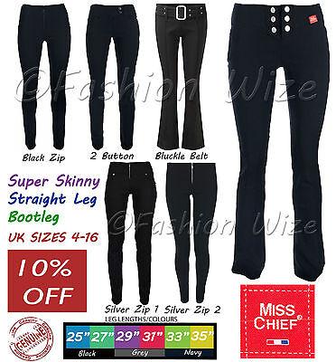 Miss Sexies Girls School Trousers Black Skinny Stretch Hipster 27 Inside Leg Six Button Boot Leg