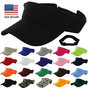 Visor-Sun-Plain-Hat-Sports-Cap-Colors-Tennis-Golf-Beach-Men-Women-Adjustable