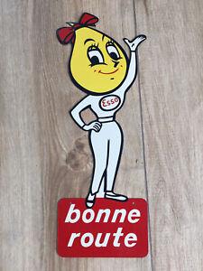 Vintage-Ancienne-Tole-Sign-Goutte-Esso-Oil-Drop-Girl