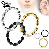 Bendable Annealed Steel Nose Ear Hoop Breaded 20g 18g 16g 14g Black Gold Silver