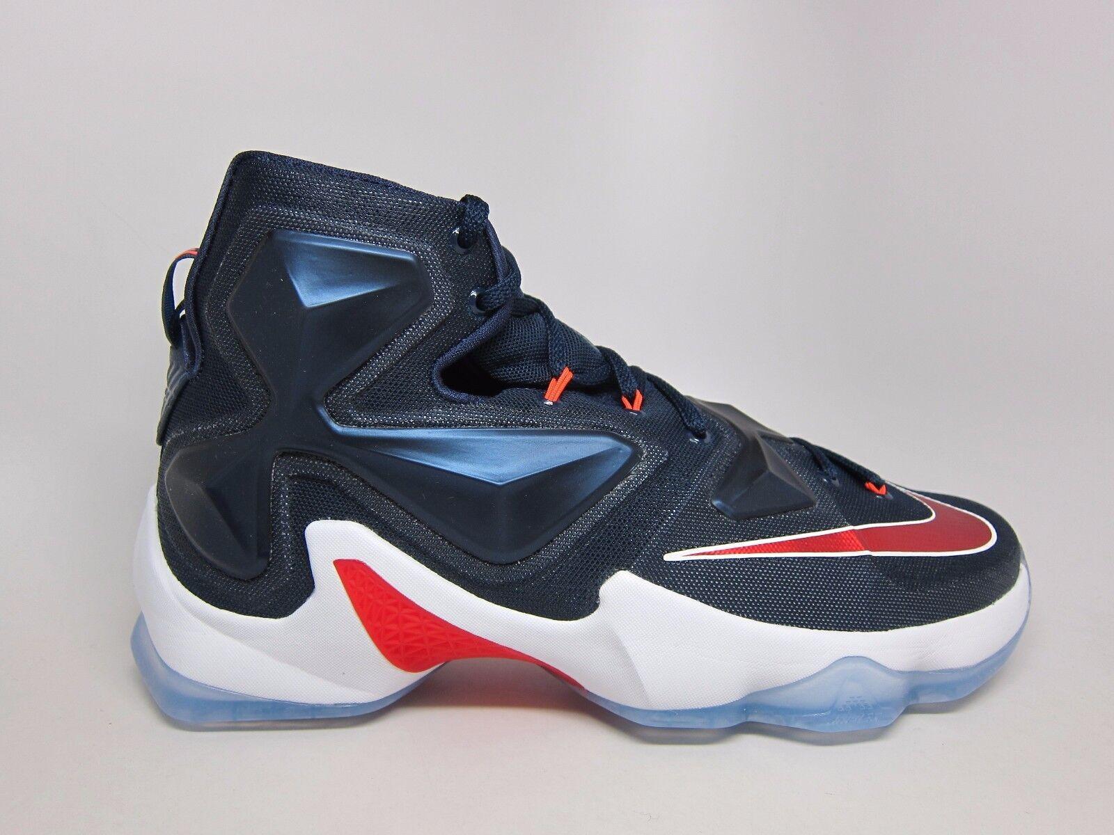 New Men's Nike Lebron XIII USA Shoes (807219-461)  Navy//Varsity Red-White