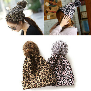 9acc811f61c4 Leopard Print Knit Beanie Pom Cap Warm Winter Skull Hat Ski Fashion ...