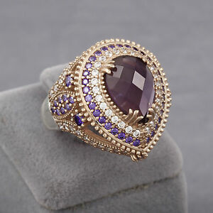 Turkish Handmade Sterling Silver 925k And Bronze Amethyst Ring Size 6 7 8 9 10 Various Styles Gemstone