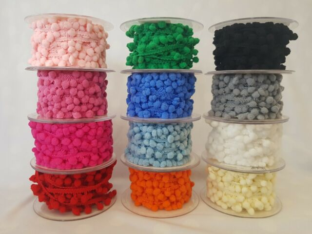5mm 1 Metre 17 Colours Pom Pom Bobble Trim Fringe