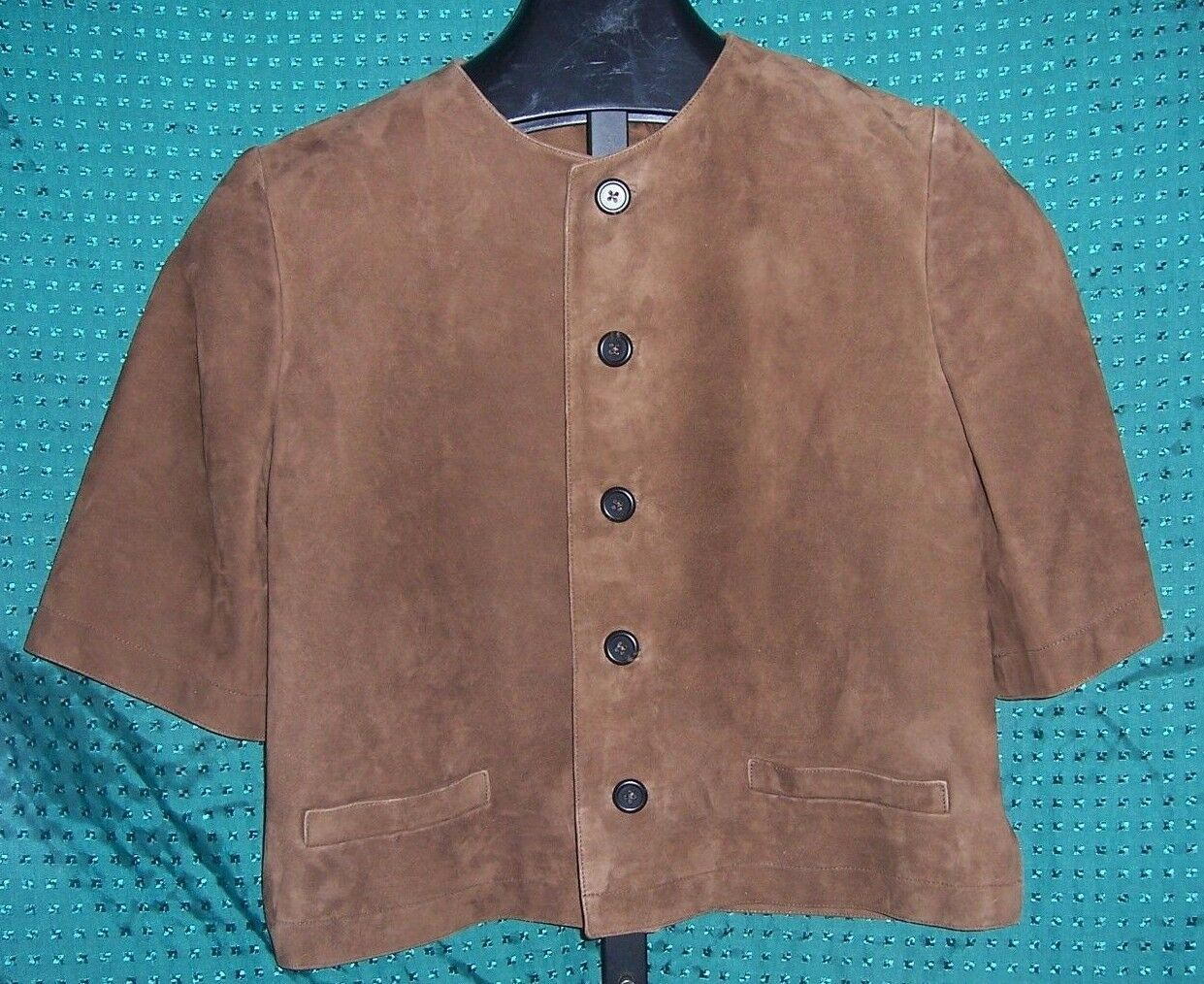 Ralph Lauren Collection lila Label braun Lamb Suede SS Shirt Misses Größe 8