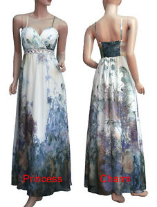 Formal-Evening-Party-Dress-Gown-Long-Floral-Print-Poly-Silk-Chiffon-Beaded-New