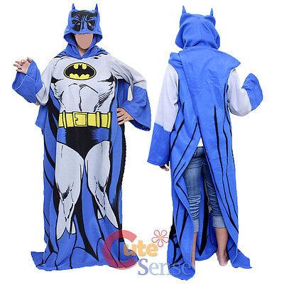DC Batman Hooded Cozy Fleece Blanket with Sleeves Eye Hole - Teen  Adult Size