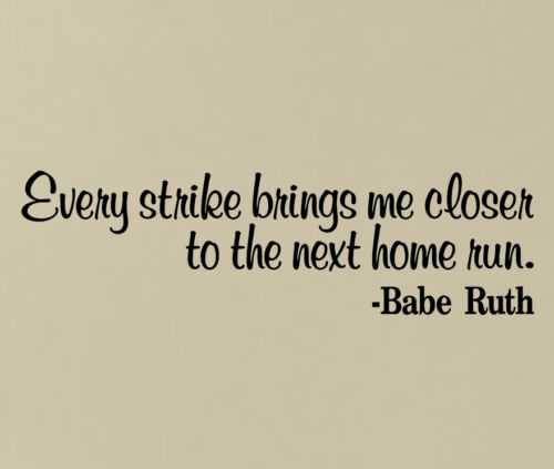 BABE RUTH VINYL WALL DECAL STICKERS HOME MURAL LETTERING QUOTE BASEBALL YANKEES