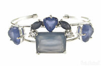 Monet Clustered Blue Stone Silver-tone Cuff Bracelet