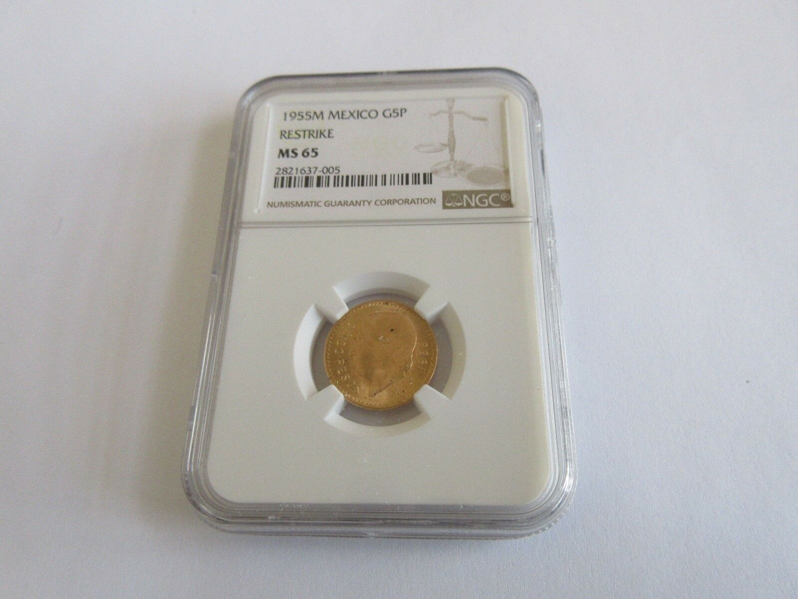 1955M , Mexico , G5P , Restrike , NGC Certified , MS 65