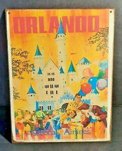 WALT DISNEY WORLD ORLANDO National Airlines Handmade Disney World vintage sign