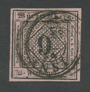 Old-Germany-Wurttemberg-1851-Mi-4b-Postmarked-Gepr-lange-See-Scans