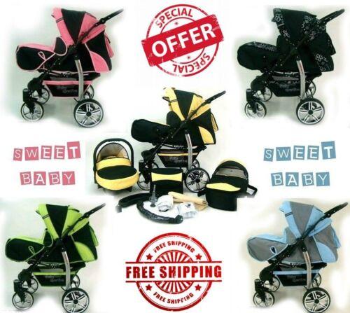 BABY PRAM STROLLER SPORTIVE TWIST PUSHCHAIR BASSINET CAR SEAT FREE SHIPPING !!!