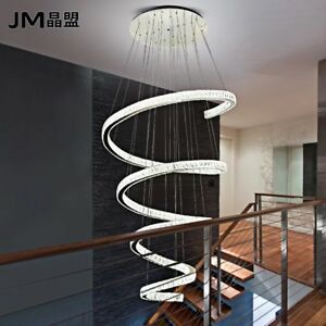 Image Is Loading Luxury LED Spiral Crystal Ceiling Light Stair Chandelier