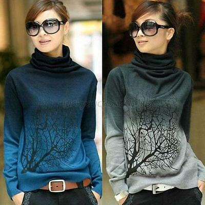 Womens Branch Print Turtleneck Sweater Gradient Color Pullover Tops S/M/L/XL L59