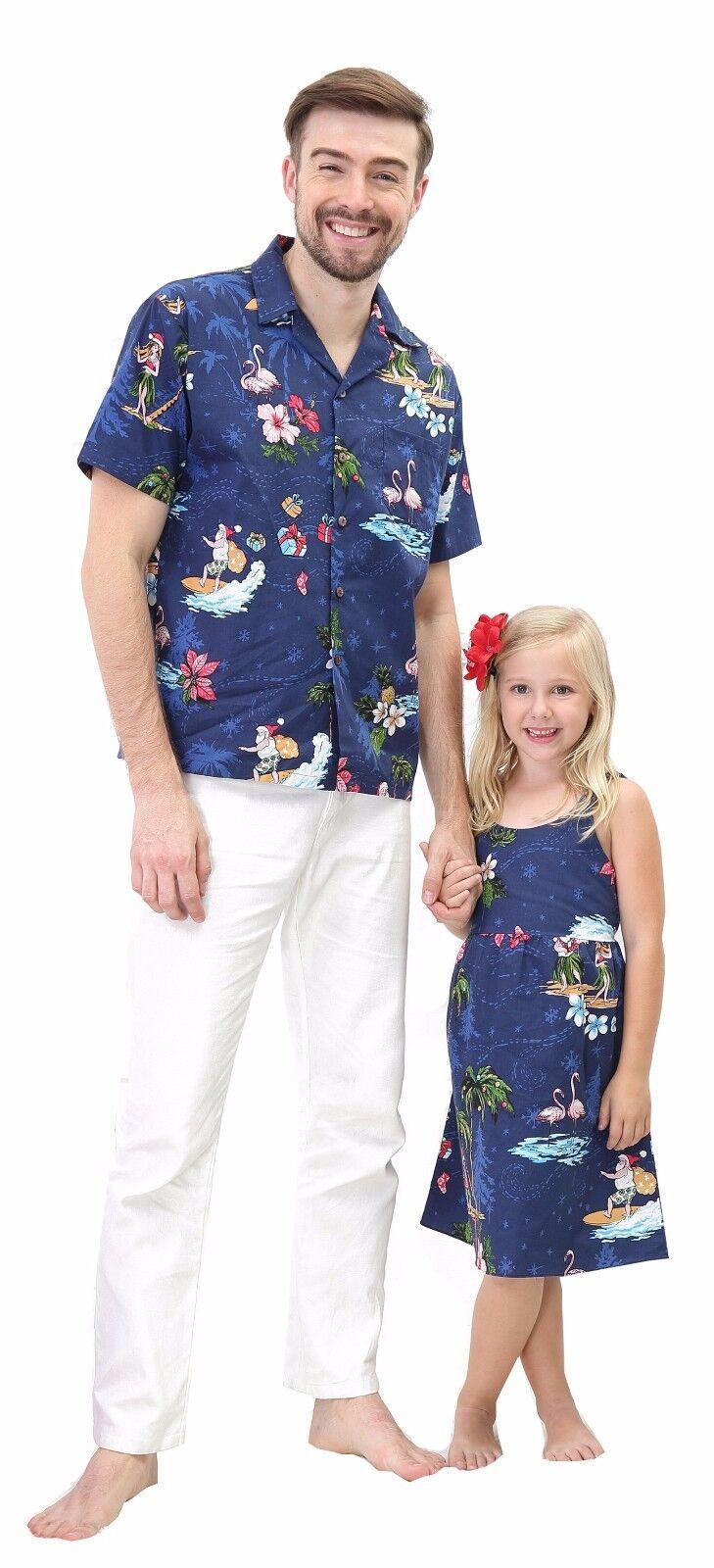 Christmas Santa in Hawaii Father Daughter Matching Luau Dance Shirt Dress Navy
