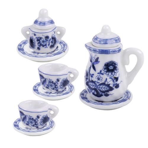 1//12th Casa De Muñecas En Miniatura De Cocina Comedor Juego De Té De Café De Porcelana Floral Ware