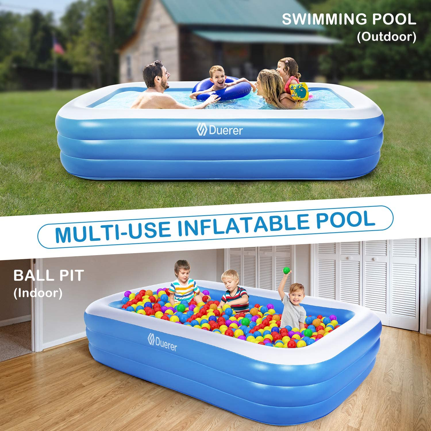 Duerer Inflatable Swimming Pools, Inflatable Pools, Full-Sized Family Blow up -