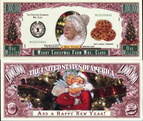 MERRY CHRISTMAS FROM MRS.CLAUS 1 MILLION USA DOLLAR BILL