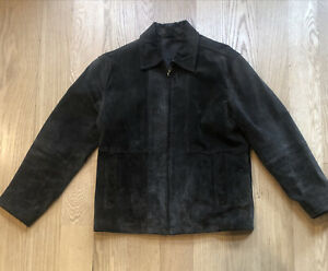 Claiborne-Brown-Suede-Leather-Coat-Jacket-Mens-SZ-M-Zip-Up-Bomber