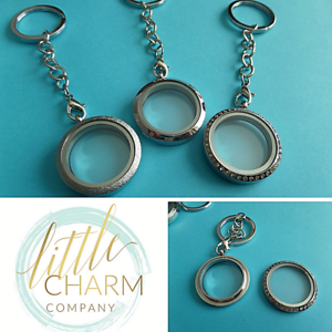 30mm Stainless Steel floating charm glass twist top memory locket KEYRING gift