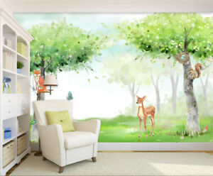 Image Is Loading 3D Cartoon Animal Forest Hand Painting Self Adhesive