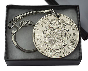 HALF-CROWN-COIN-KEYRING-CHOICE-OF-YEAR-1947-TO-1967-PERFECT-BIRTHDAY-PRESENT