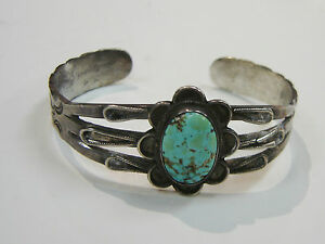 SOUTHWEST-OLD-PAWN-STERLING-SILVER-TURQUOISE-CUFF-BRACELET-N521-G