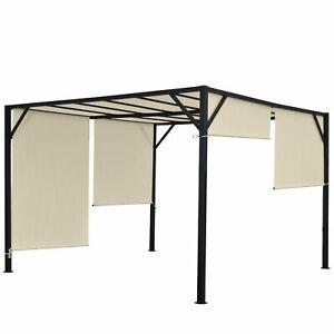 Pergola-Beja-Jardin-Pabellon-estable-marco-de-acero-de-6-cm-Techo-solar-4x4m