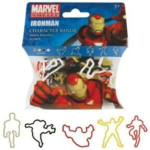 (1) MARVEL IRONMAN CHARACTER BANDZ PACK 20 COLLECTIBLE ELASTIC BRACELETS