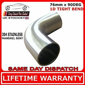 76mm 3 inch x 90 Degree Tight 1D T304 Stainless 2.0mm Wall Exhaust Bend Tube