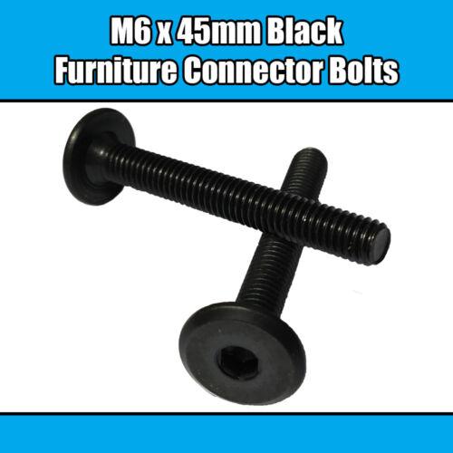 M6 x 45 mm NOIR meuble Connecteur Boulons Allen joint fixation lit bébé meuble table