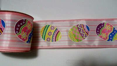 Easter Eggs on Yellow Background  Wired Ribbon  Polyester 2-1//2 In x 9 Ft