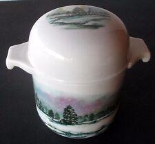 "Vintage 60's Shaklee Bone China Condiment Jar W Lid Christmas Winter Snow 4"" T"