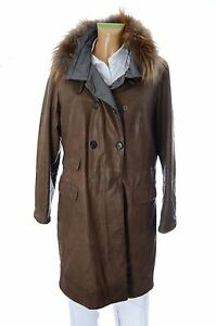 3d07a85563f4f9 Brunello Cucinelli Designer Damen Echt Leder Mantel Woman Coat Gr ...